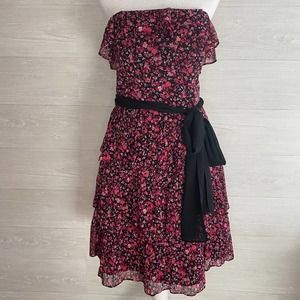 WHBM Black Pink Floral Strapless Party Dress